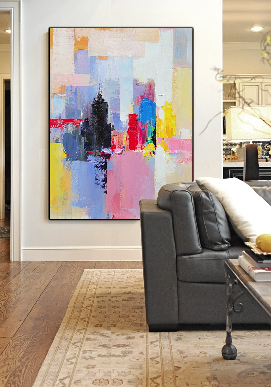 Extra Large Painting,Vertical Palette Knife Contemporary Art,Colorful Wall Art,Black,Red,Pink,Yellow.etc